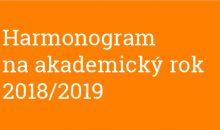 Harmonogram na akademický rok 2018/2019